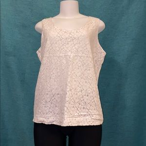 Charter Club white flower lace shirt